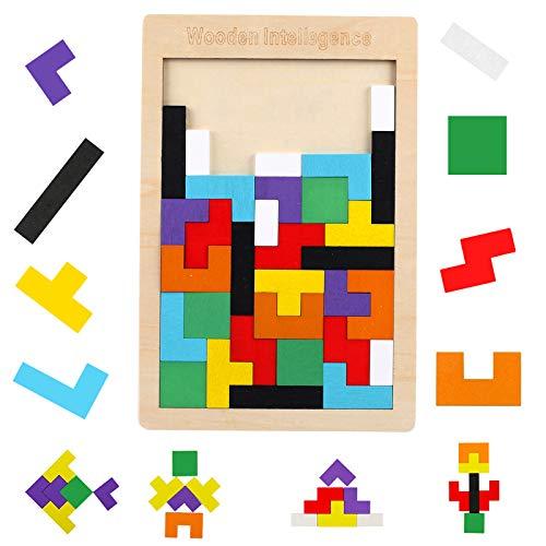 FUNVCE Holzpuzzles Tetris 40 Stück Tangram Puzzlespiel Pädagigisches Spielzeug Hölzerne Puzzles Stichsäge Spielzeug Gehirn Teaser Magic Blöcke Spielzeug Geschenk für Kinder