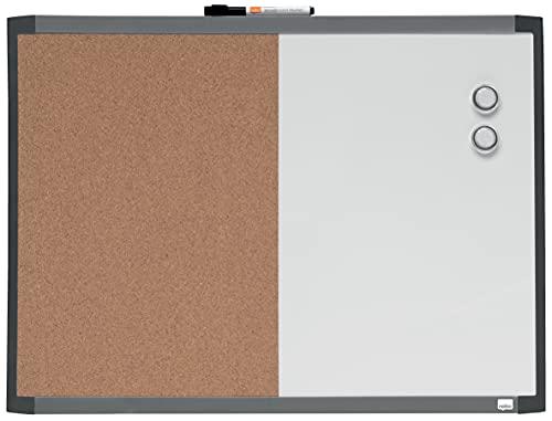 Nobo Pizarra Magnética Pequeña con Tablón de Corcho Incluido para la Pared de tu Casa u Oficina, Marco de Varios Colores, Clip Integrado para Rotulador, Casa y Oficina, 585 x 430 mm, 1903784