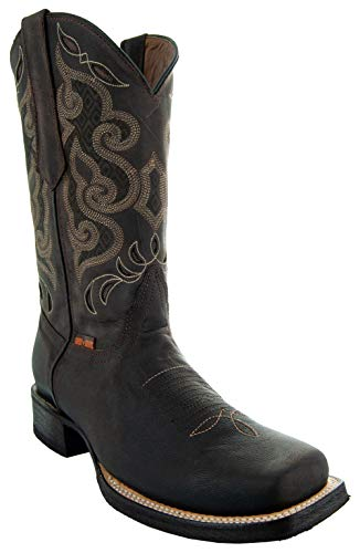 Soto Boots Men's Broad Square Toe Boots H50019 (10, Dark Brown)