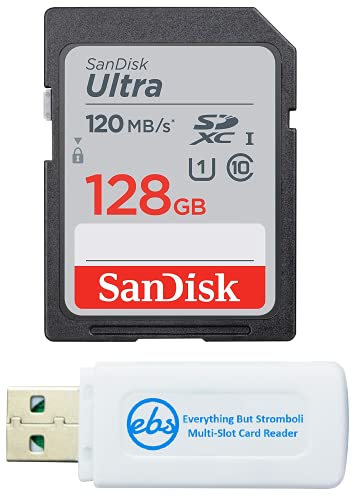 SanDisk Ultra SDXC 128GB SD Card for Olympus Mirrorless Camera Works with Pen E-P7, OM-D E-M10 Mark IIIs (SDSDUN4-128G-GN6IN) Bundle with (1) Everything But Stromboli SD & Micro Memory Card Reader
