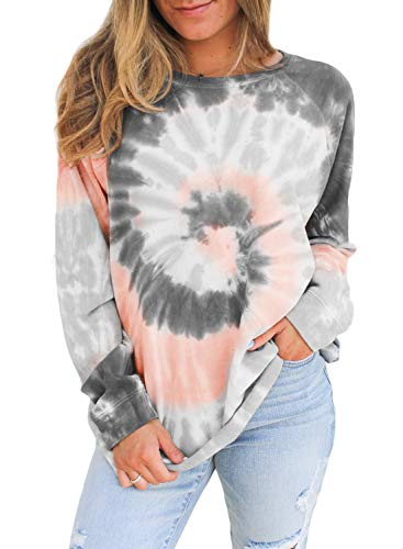 CANIKAT Womens Cute Color Block Tie Dye Printed Sweatshirt Soft Cotton Round Neck Long Sleeve Ladies Tops Tunic Blouses Gray L