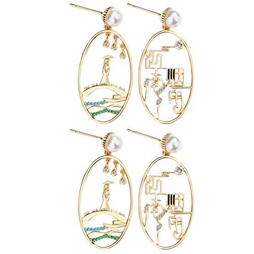 ABOOFAN 2 Pairs Chinese Dangle Earrings Vintage Asymmetric Earrings Oval Frame Jiang Nan Scenery Earrings for Womem Girls Elegant Retro Ethnic Style Chinese New Year Jewelry Gift