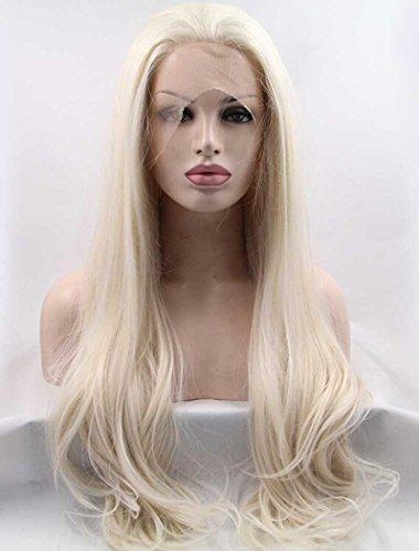 Tsnomore longue ligne droite Blanc Blond dentelle synthétique perruque d'avant