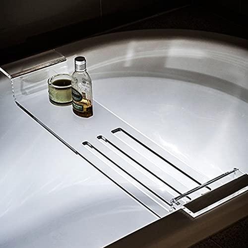 XXIOJUN Rack de bañera, baño SPA Estante de bañera acrílica Multifuncional, Soporte de baño de baño Personalizable (76x20cm, 82x20cm) (Color : Claro, Size : 82x20cm)