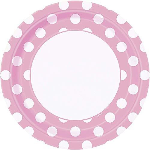 Unique Party - 37975 - Paquet de 8 Assiettes - Carton à Pois - 23 cm - Rose Pastel