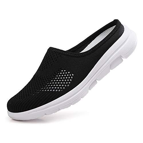 [Anleesi] 安全靴レディース スニーカー 介護シューズ 高齢者シューズ ローファー スリップオン 通気性 柔軟性 軽量 メッシュ 中高齢者靴 ママシューズ 疲れにくい 滑り止めお母さん 婦人靴 看護師 黒い ブラック 22.5cm