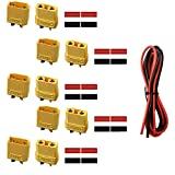 XT90 XT 90 Connectors Male and Female with 6 Feet 14 AWG Silicone Wire with Heat Shrink Tube for DIY Custom Lipo Battery 3D Printer RC (5 Pairs)