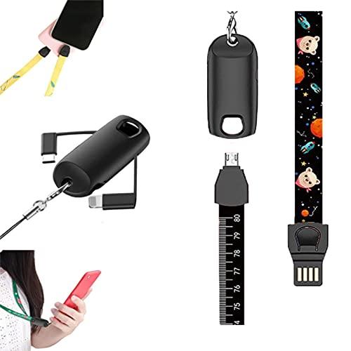 XTONG CordóN De Cable De Datos MultifuncióN 3 En 1,Adaptador De Cable De Carga MúLtiple RetráCtil, CordóN De TeléFono/Cable De Carga/Regla De MedicióN, para iPhone/Android/Type-C 86cm B