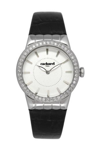 Cacharel - Reloj Analógico de Cuarzo para Mujer, Correa de Cuero Color Negro