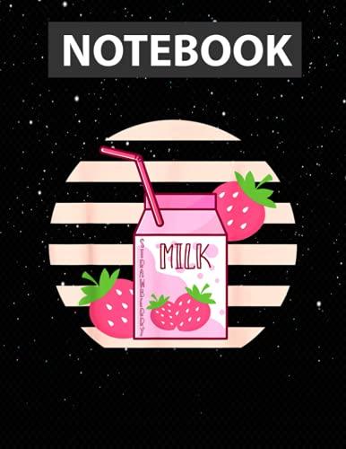 Pink Japanese Strawberry Milk Plus Size Women Men Kawaii 2XL Notebook Jounal Lined / 130 Pages / Large 8.5''x11''