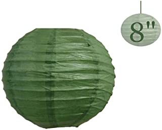 BalsaCircle 12 pcs Green 8-Inch Tall Paper Shades Lanterns - Lamp Wedding Event Birthday Party Room Home Decorations Supplies