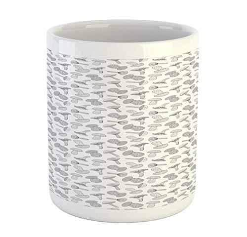 Mushroom Mug, Doodle Style Hand Drawn Mushroom Pattern Woodland Elements Monochrome Design, Ceramic Coffee Mug Cup for Water Tea Drinks, 11 oz, Black and White