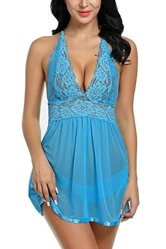 Voqeen Pijama Babydoll vestido encaje lencería Hot bordado pecho mujer con tanga transparente completo Intimo Prospettiva para la noche de bodas vacaciones en luna de miel viaje Blu Cielo S