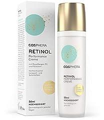 Cosphera - Retinol Performance 50 ml - avec de l'acide hyaluronique - crème végétalienne de jour et de nuit à haute dose pour le visage, le cou, les yeux - anti-rides Hydratation pour les femmes et les hommes