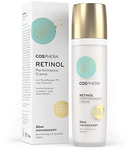 Cosphera - Retinol Performance Creme 50 ml - mit Hyaluronsäure - vegane Tages- und Nachtcreme hochdosiert für Gesicht, Hals, Augen - Anti-Falten Feuchtigkeitsbehandlung für Frauen und Männer