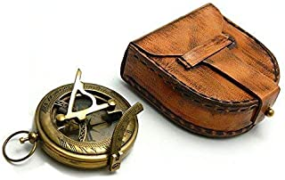 Roorkee Instruments India Vintage Sundial Compass with Leather Case/Gift for Him/Engraved Compass/Sundial Compass for Camping, Hiking, Touring