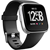 Wepro Replacement Bands Compatible with Fitbit Versa SmartWatch, Versa 2 and Versa Lite SE Sports Watch Band for Women Men, Large, Black