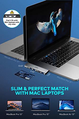 USB C Hub, Macbook Pro Adapter, YXwin 6 in 2 Thunderbolt 3 USB Typ C Adapter kompatibel für MacBook Pro 2016, 2017, 2018 und MacBook Air 2019 mit PD 3.0,3 USB 3.0 Anschlüssen, SD TF Kartenleser (grey)