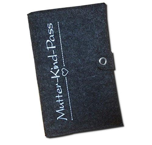 Mutter-Kind-Pass-Hülle Deluxe mit extra Fächern und Verschluss aus 100% Wollfilz - in deutscher Handarbeit gefertigt - Anthrazit - nur passend für den österreichischen Mutter-Kind-Pass