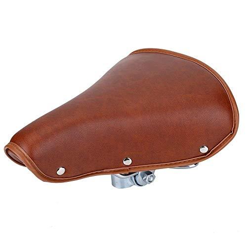 Asiento de bicicleta, asiento trasero de bicicleta MTB Cuero de PU Cojín suave Asiento de rejilla trasero Universal Cómodo Remaches marrones Asiento de bicicleta Resorte de cuero de PU duradero