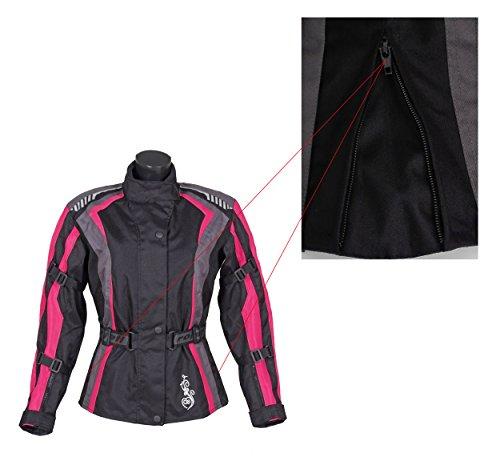 Roleff Racewear Damen Textil Motorradjacke mit Protektoren, Gute Belüftung, Taillierter Schnitt, Schwarz, Pink , Größe XXL - 5