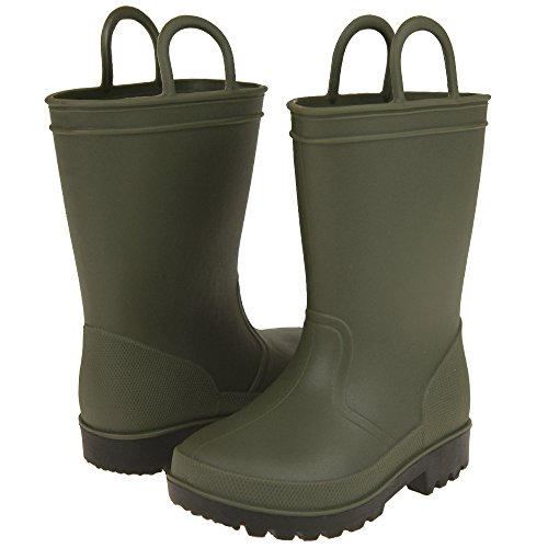 Capelli New York Matte Solid Opaque Toddler Boys Rain Boot Olive 4/5