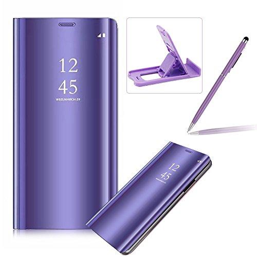 Coque Galaxy S9 Plus Clapet, Herzzer Housse Étui en PU Cuir Luxe Placage Technologie avec Transparente Miroir Design Bumper Dur PC Backcover Protector Fonction Stand pour Galaxy S9 Plus - Violet