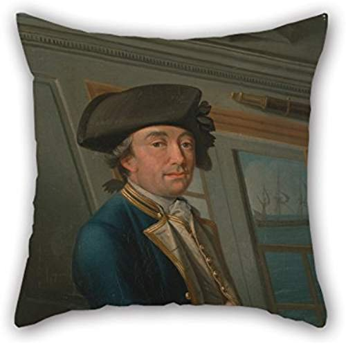 Oil Painting Dominic Serres - Captain William Locker Throw Pillow Case ,best For Birthday,indoor,saloon,bench,lover,gril Friend 18 X 18 Inch / 45 By 45 Cm(2 Sides)