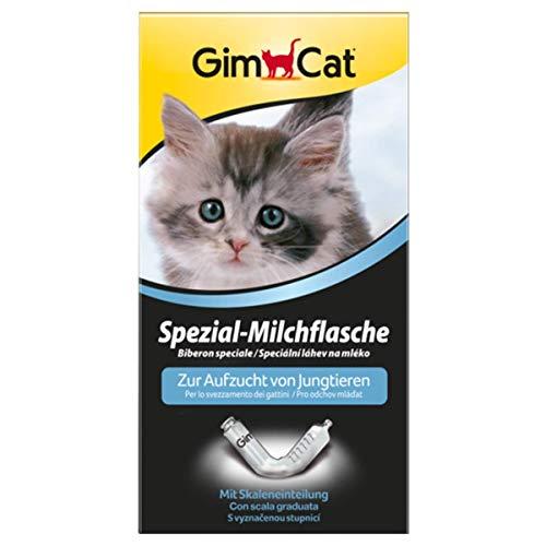 GimCat speciale melkfles, kweekhulp voor kitten en andere jonge dieren, glazen fles met schaalindeling voor het voeden van baby's, 1 fles