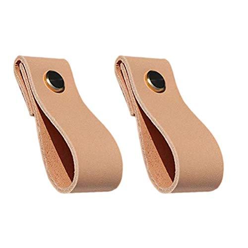 Yardwe 2 piezas de muebles de cuero manija de la puerta perillas de la puerta del gabinete cajón lazo tiradores manijas de la puerta (marrón)