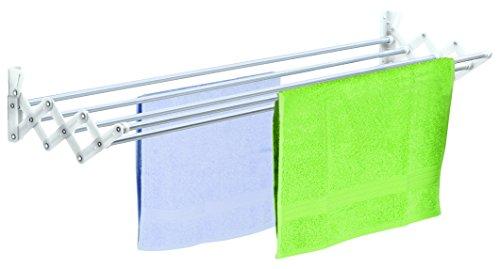 Casabriko 32112 Stendibiancheria a Soffietto, Alluminio e Nylon, Bianco, 120 cm, bianco/alluminio