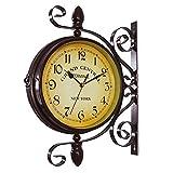 Reloj de pared giratorio de doble cara, retro, de hierro forjado, impermeable, negro, nostalgia, para la estación, salón, porche, pasillo, jardín