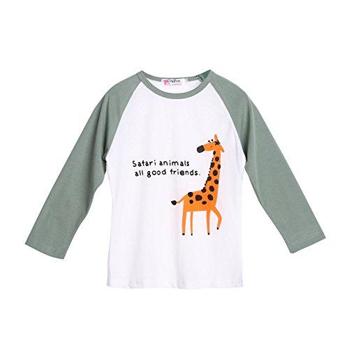 Camiseta infantil de manga comprida com estampa de roupas e blusa pulôver infantil para meninos e meninas da Diamondo