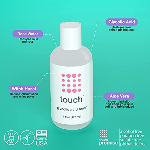 7% Glycolic Acid Toner with Rose Water, Witch Hazel, and Aloe Vera Gel - Alcohol & Oil Free Exfoliating Anti Aging AHA Face Toner - Improves Wrinkles, Dullness, Pores, Acne, Skin Tone & Texture, 6 oz.