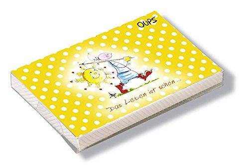 Oups Kärtchenbox Gelb: Das Leben ist schön.