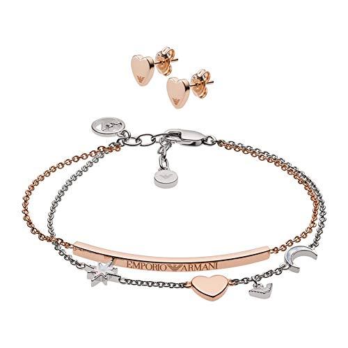 Emporio Armani EG3417221 Damen Armband Set Bicolor Rose Weiß 19 cm