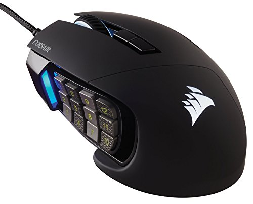 Corsair Scimitar Pro RGB - MMO Gaming Mouse - 16,000 DPI Optical Sensor - 12 Programmable Side Buttons - Black (Renewed)