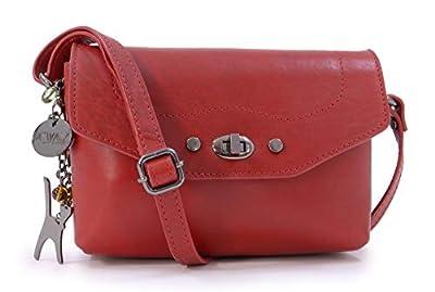 Catwalk Collection Handbags - Cuir Véritable - Petit Sac Bandoulière/Besace/Sac Porté Croisé/Messenger - Femme - FLORENCE - Rouge CS