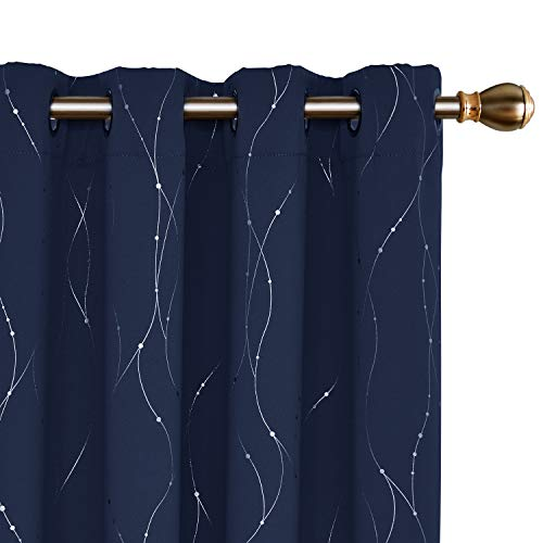 Deconovo Blackout Curtains Grommet Top Drapes Wave Line and Dots Foil Printed Window Curtains for Living Room 52 x 72 Inch Navy Blue 2 Panels