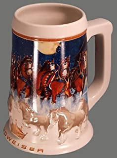 Anheuser-Busch Budweiser Holiday Stein Series - 2005 Running Free - Clydesdales Pulling The Holiday Beer Wagon