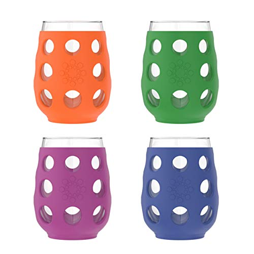 Lifefactory LF320400C4 17-Ounce BPA-Free Indoor/Outdoor Wine Glass with Protective Silicone Sleeve, 4 Pack, Multicolor