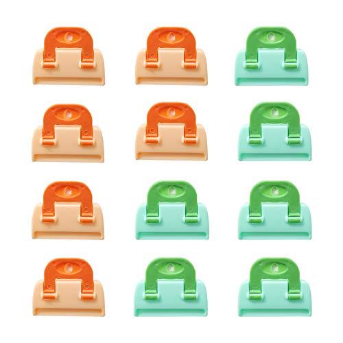 Pinzas Cerrar Bolsas Alimentos Clip para Bolsas de Congelador Clips para Bolsas de Aperitivos para Cereales Café Leche en Polvo y Condimentos Almacenamiento Sellado, 6 x 5 cm (Verde, Naranja)