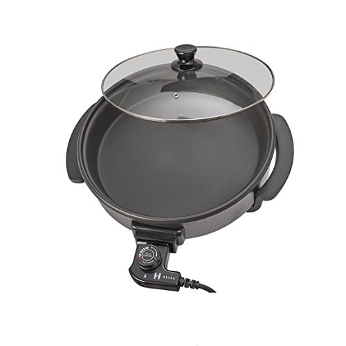 Heska - Round Cooking Electric Pan - Frying Pan - Multifunctional Skillet - Multi Cooker Non-Stick Surface 30cm Diameter 1500W with Glass Lid and Cool Touch Handles