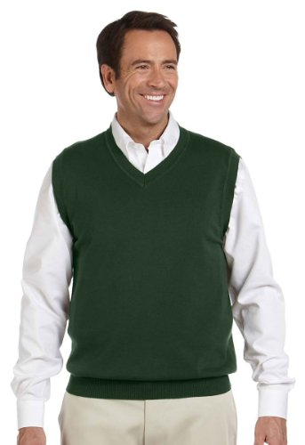 Devon & Jones Men's Full Fashioning Lighter Weight V Neck Vest, FOREST, Medium