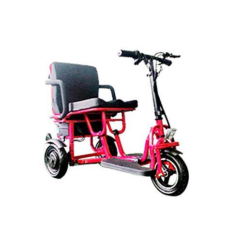 JHKGY Scooter Eléctrico Plegable De Movilidad,Scooters De Viaje Eléctricos Portátiles Ligeros De 3 Ruedas -Scooter Eléctrico De Viaje para Ancianos/Discapacitados/Al Aire Libre,Rojo 🔥