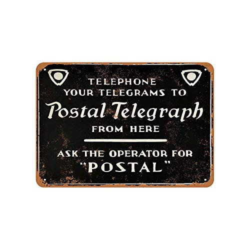 Telephone Your Telegrams Vintage Aluminum Metal Signs Tin Plaques Wall Poster for Garage Man Cave Cafee Bar Pub Club Shop Outdoor Home Decoration 12