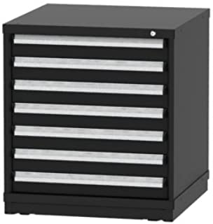 """Borroughs Bench Height Black Modular Cabinet with 7 Drawers/152 Compartments, 30""""W x 29 ¼"""" D x 33""""H"""