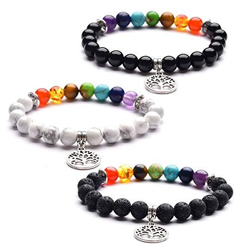 2Pcs Bracelet 7 Chakra Yoga Tree of Life Pendant Volcanic Stone Anti Anxiety Chakra Bracelet Adjustable Lava Stone Beads Diffuser Yoga Bracelet for Women Men