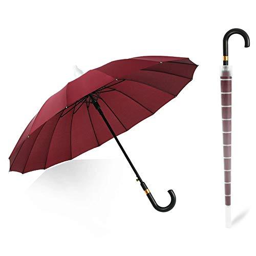 Burhetten Funda impermeable para traje de dos piezas, resistente al viento, para negocios, 16 huesos, mango largo, paraguas para coche (color rojo vino, tamaño: mango curvado)