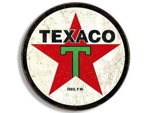 MAGNET 4x4 inch Round Vintage TEXACO Gas Sticker (Gasoline Logo Old Rat Rod) Magnetic vinyl bumper sticker sticks to any metal fridge, car, signs